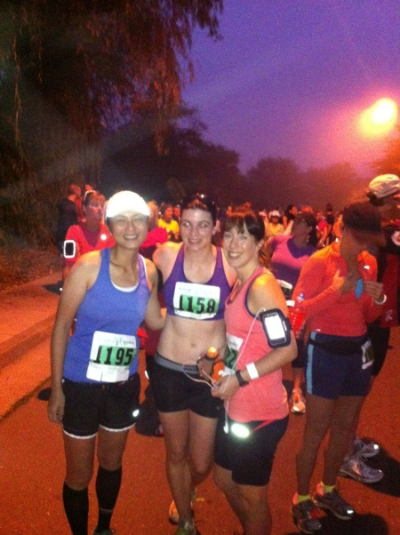 Me, Angela, and Cathryn ready to race.
