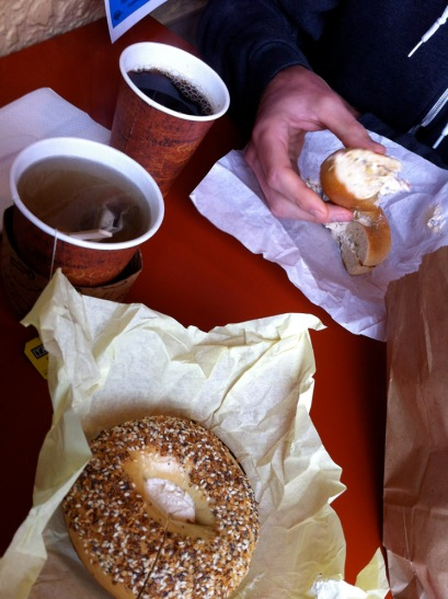 Getting our carb loading on at Berkeley Bagels.