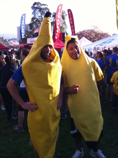 """CR and his RBO student """"Fluffy"""" ran in banana suits. Now that's dedication!"""