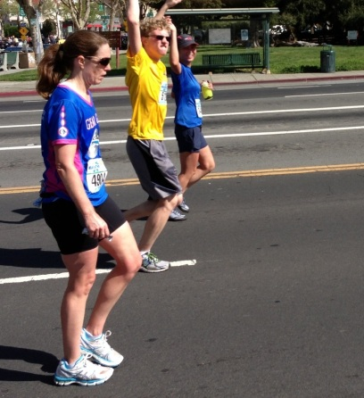 Finn and I running past the crowd on Grand Ave. (Photo courtesy of RC.)