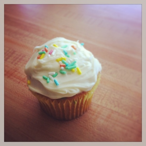 Drowning my sorrows/refueling with a Funfetti cupcake!