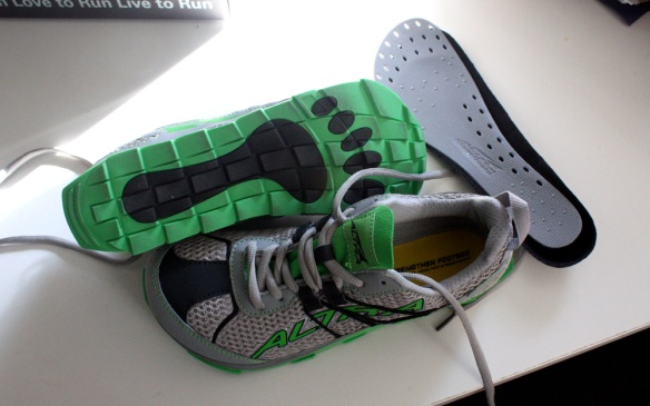 The Altra Superior right out of the box. Rock plate to the right.