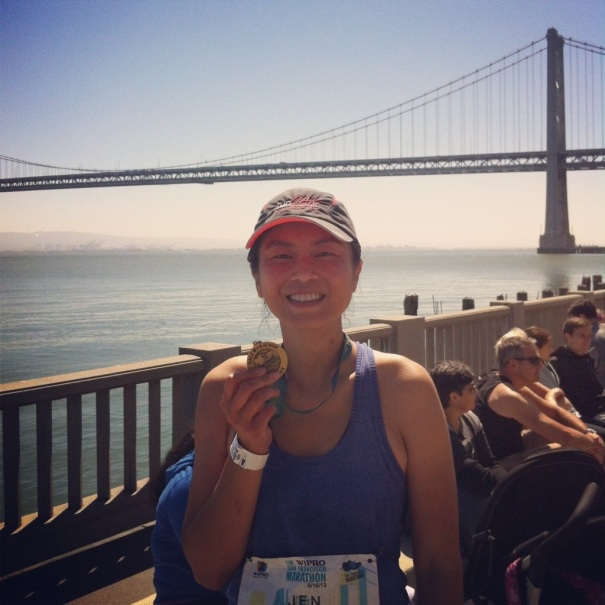 In front of the Bay Bridge with my hard-earned SF2HM medal.
