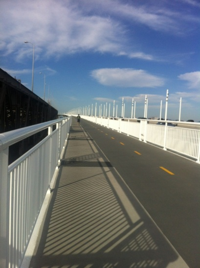 The spanking new running and cycling path on the Bay Bridge.