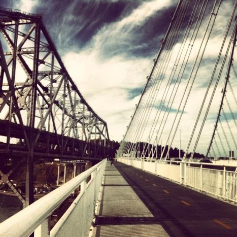 Where the old bridge meets the new bridge.