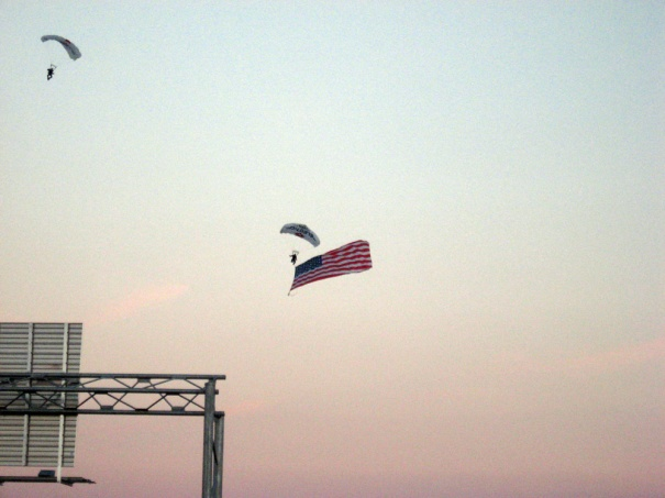 Paratrooper with a ginormous flag.