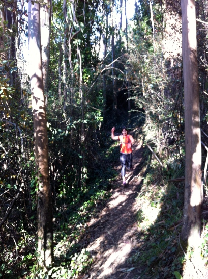 Running out of the 2nd eucalyptus grove, Cathryn does her best Priscah Jeptoo impersonation.