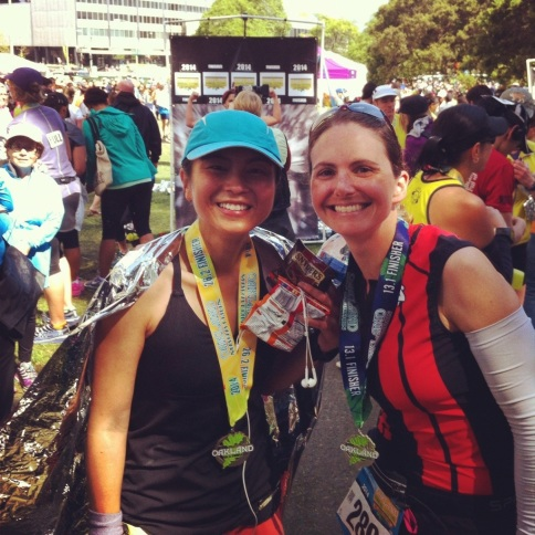 With DL after the race, who ran the last mile with me.  It's hard not to be grateful for such supportive friends!