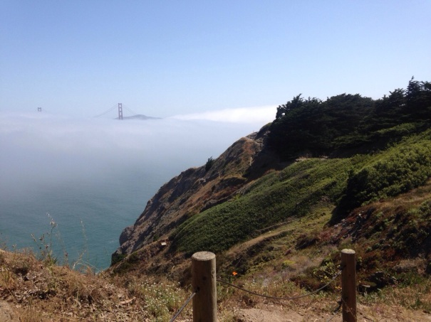 Two of the most famous features of San Francisco: the Golden Gate Bridge and the fog.