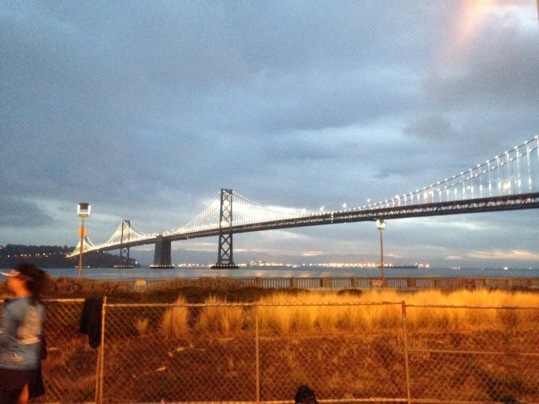 Gorgeous view of the Bay Bridge just before sunrise.