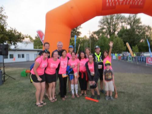 Blurry finish line team photo.  I think we were all too tired to care.