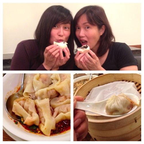 Indulging at Din Tai Fung: me and my sister PY splitting a black sesame bun (top), shrimp wontons in Szechuan oil (bottom left), and the house specialty xiaolungbao (bottom right).