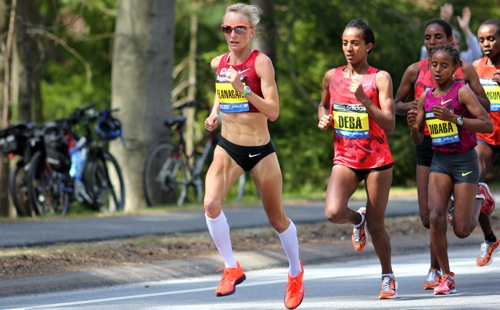 Shalane fearlessly leading the pack at this year's Boston Marathon.