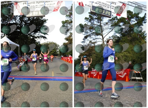 The finish from 2 different perspectives.