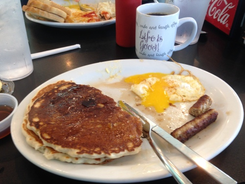 Instead of a long run, I decided to eat a huge breakfast.  Best decision ever.
