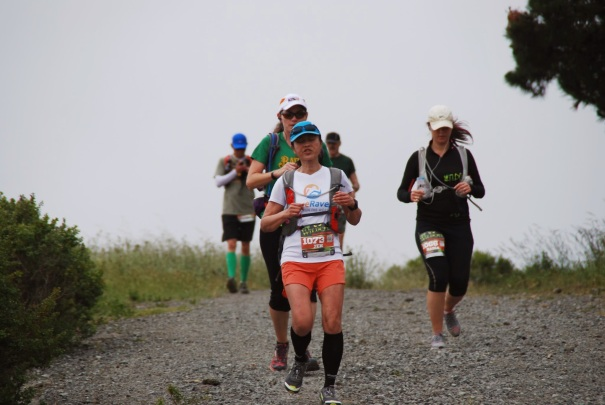 Somewhere near the 3rd aid station. I think this might be the most unflattering race photo I've ever taken. LOL