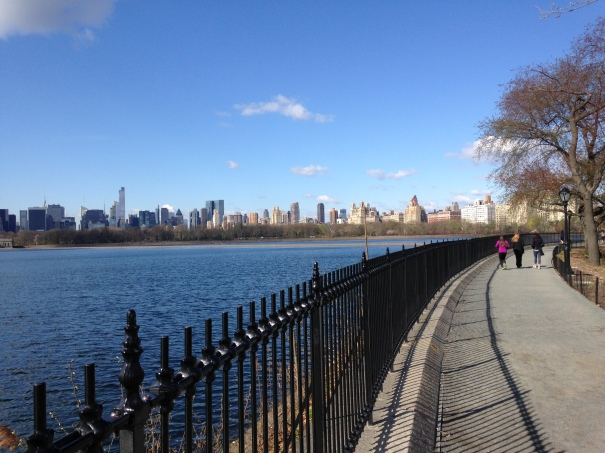 The Jackie Onassis Kennedy Reservoir.  Unfortunately, the east side was closed, which prevented me from circumventing the whole thing.