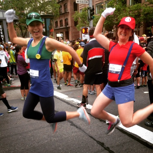We had a lot of energy before Bay to Breakers, as you can see.