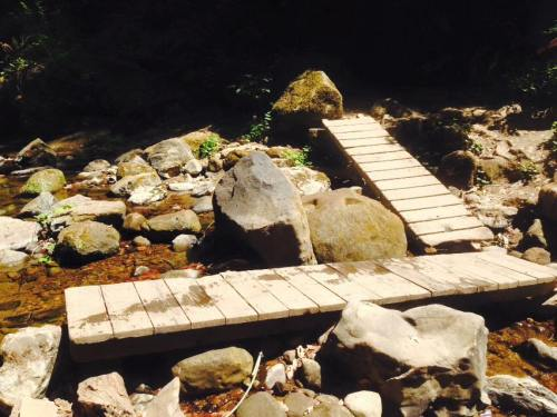 On of the creek crossings. I recalled the second bridge was a bit unbalanced.