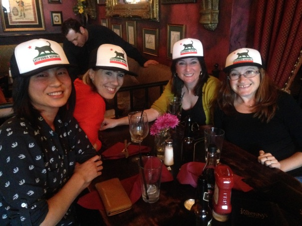 """Crazy Cat Ladies reunited! With our """"Catifornia Republic"""" trucker hats. :)"""