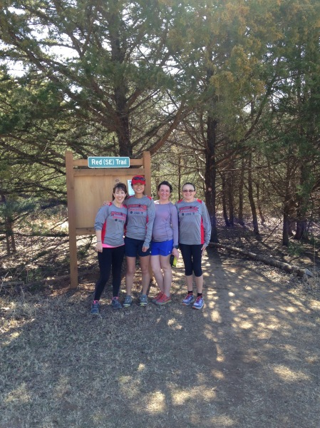 At the Red Trail trailhead, sporting our Postoak shirts!